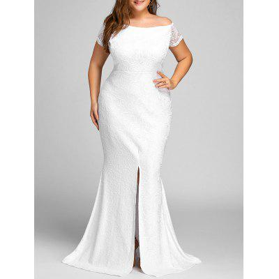 Off The Shoulder Lace Slit Plus Size Dress