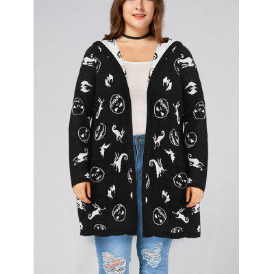 Halloween Plus Size Hooded Graphic Cardigan with Pockets
