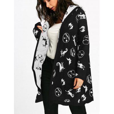 Halloween Hooded Graphic Cardigan with Pockets