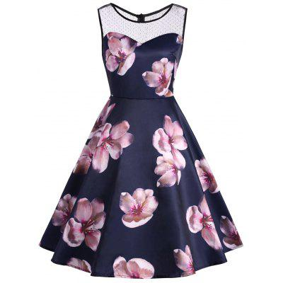 Lace Panel Flower Print Sleeveless Vintage Dress