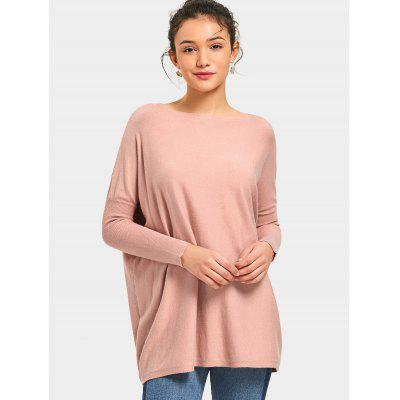 Slash Neck Longline Knit Top