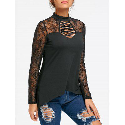 Halloween Sheer Spider Web Lace Up Top