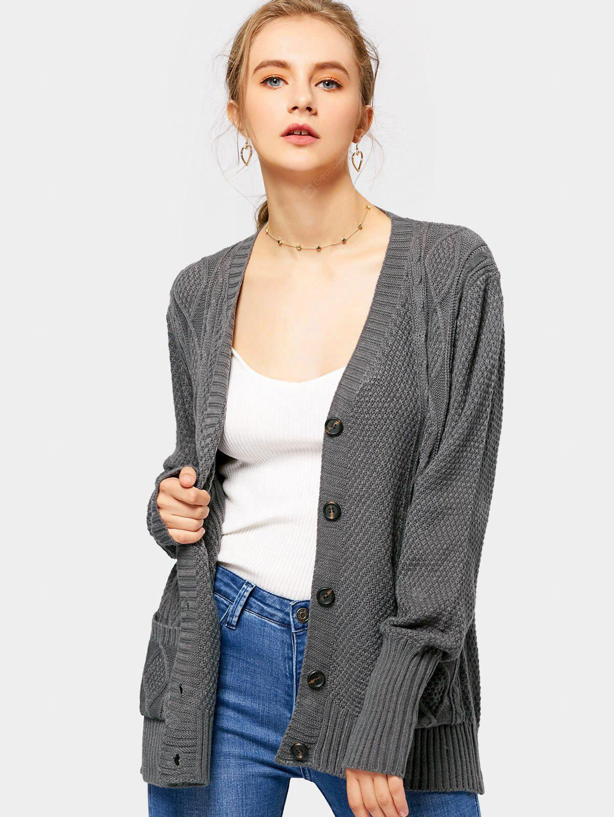 Button Up V Neck Cardigan with Pockets