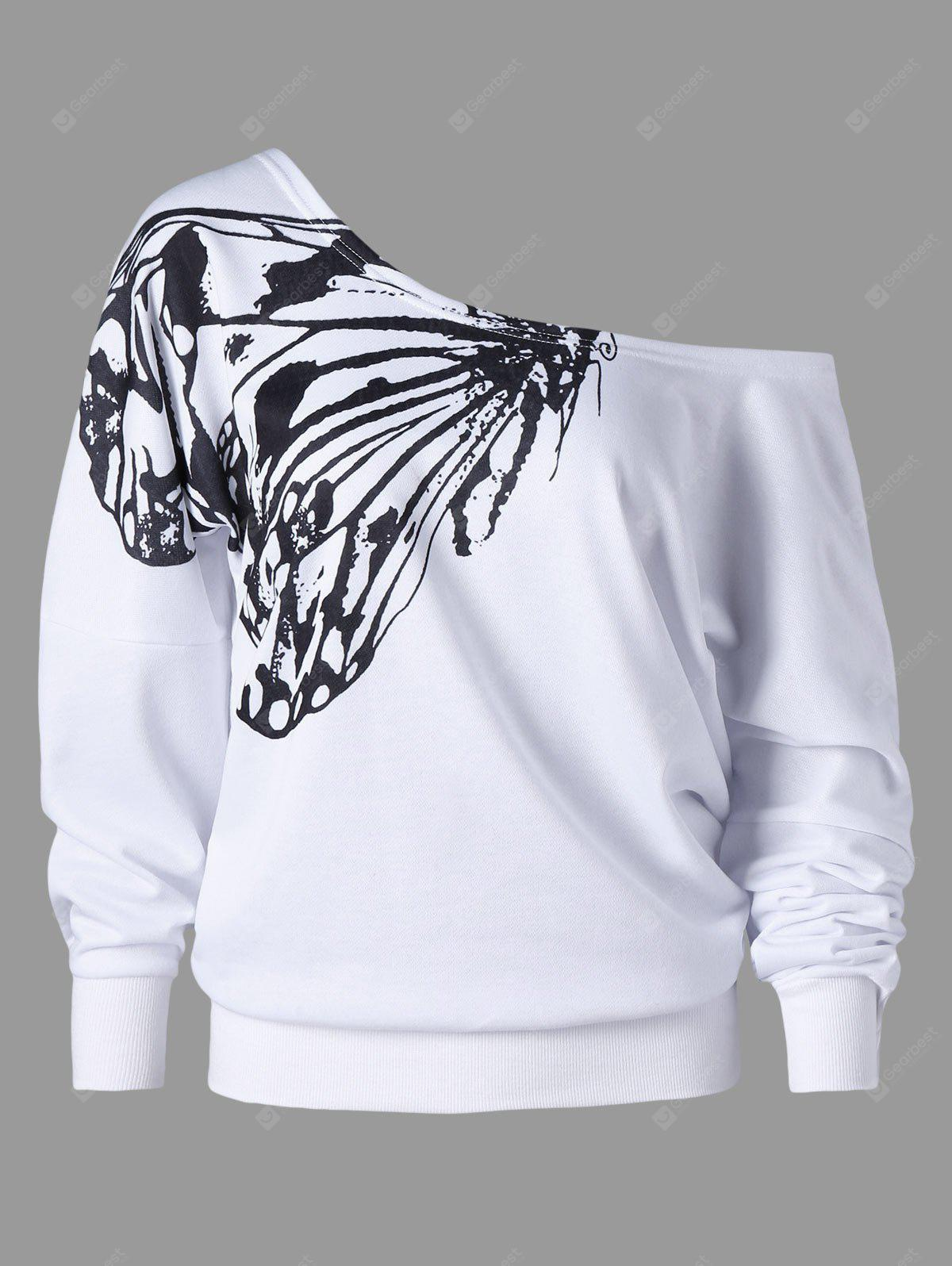 Plus Size Butterfly Print Skew Collar Sweatshirt