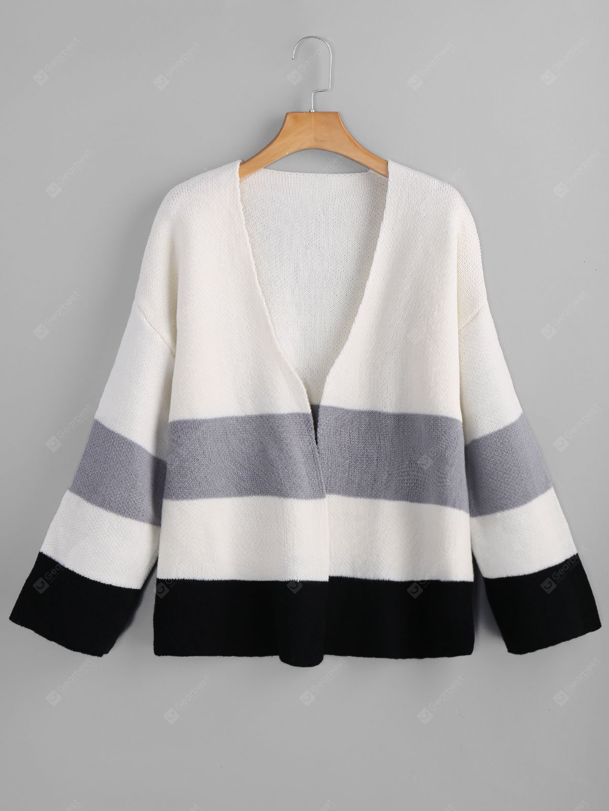 Collarless Open Front Color Block Cardigan