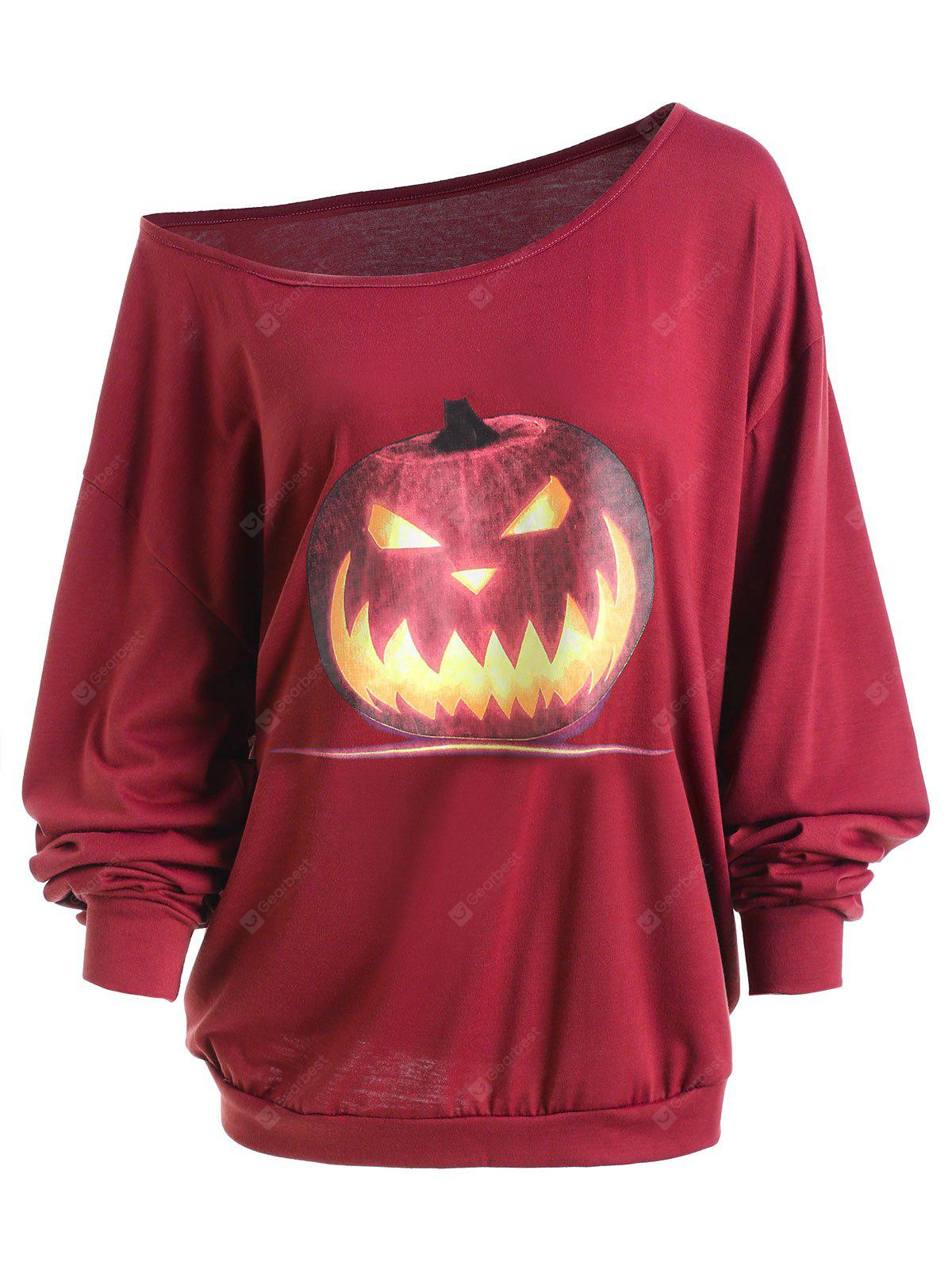 WINE RED XL Plus Size Halloween Angry Pumpkin Skew Neck Tee