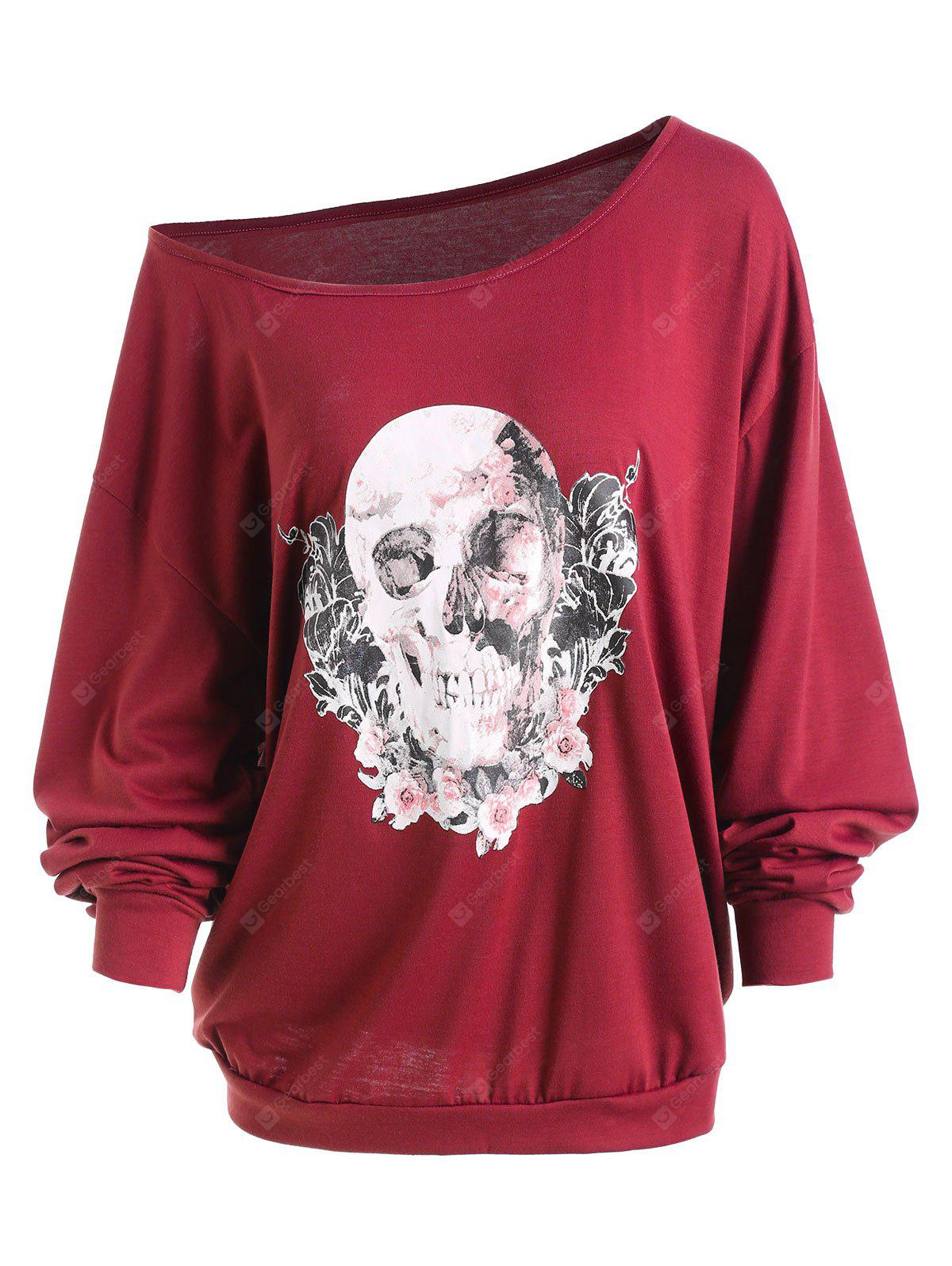 Plus Size Halloween Rose Skull Skew Neck Tee