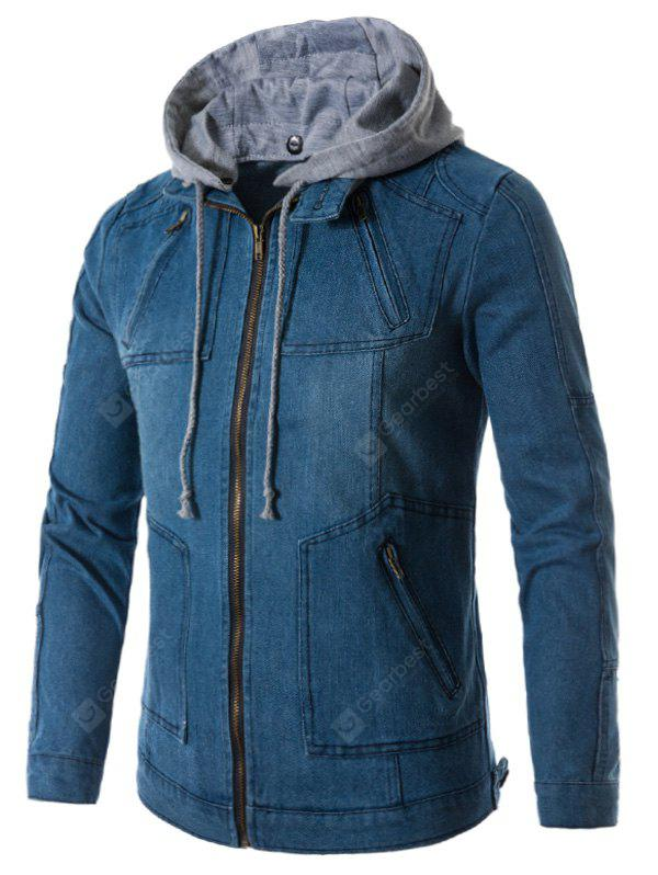 DENIM BLUE L Hooded Zip Up Pockets Denim Jacket