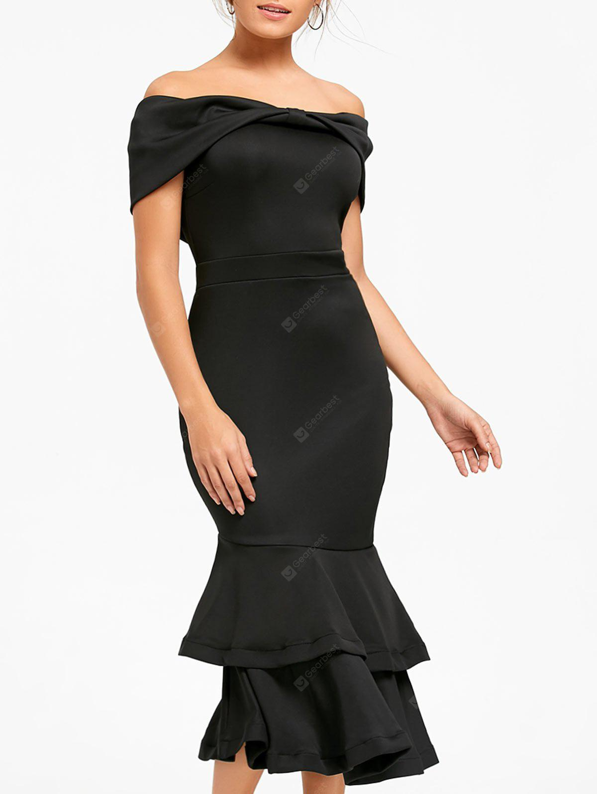 Bowknot Off The Shoulder Mermaid Bodycon Dress