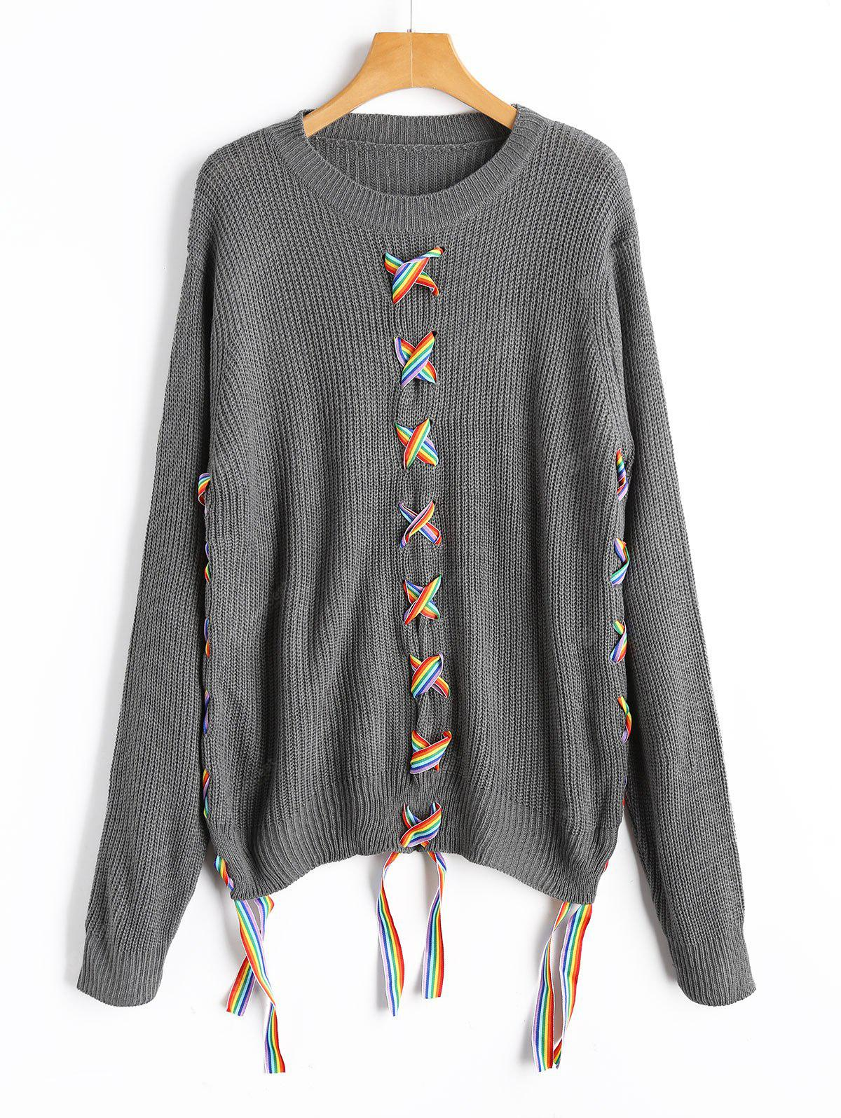 GRAY Colorful Lace Up Sweater