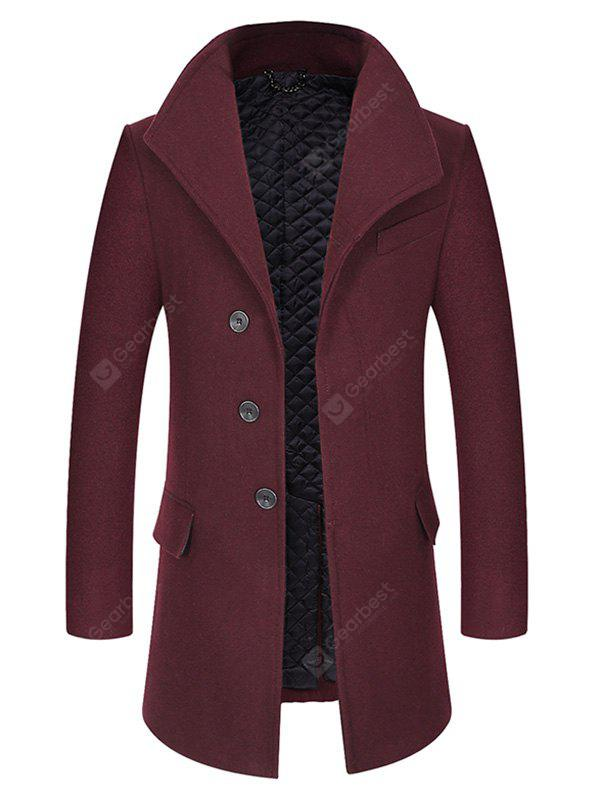 WINE RED 2XL Cover Closure Slim Fit Wool Blend Coat