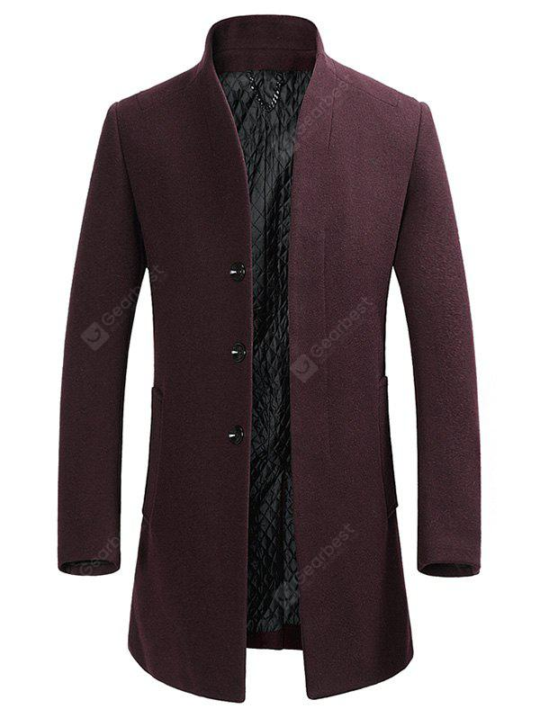 WINE RED L Cover Closure Slim Wool Blend Coat