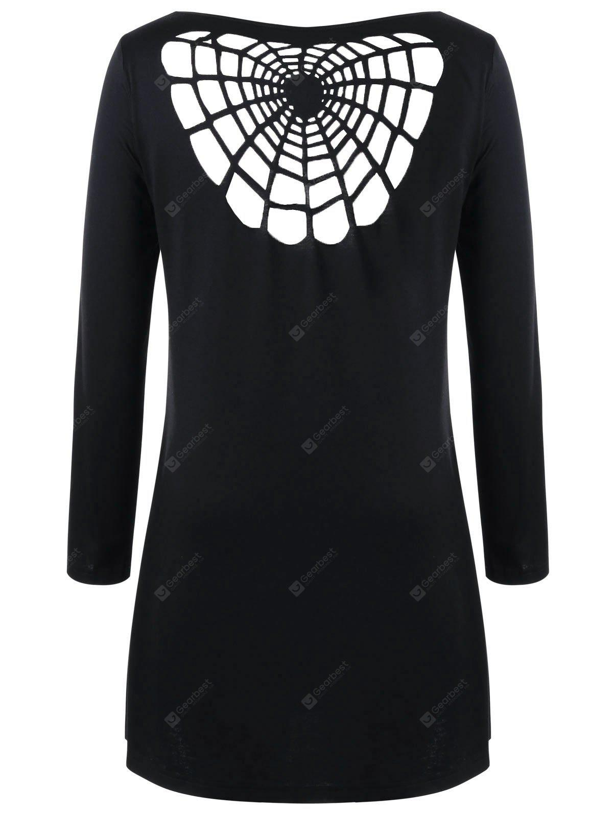 Halloween Plus Size Openwork Spider Tunic T-shirt