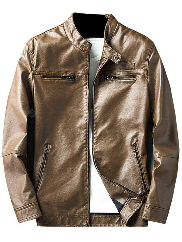LIGHT BROWN 3XL Zip Pocket Faux Leather Jacket