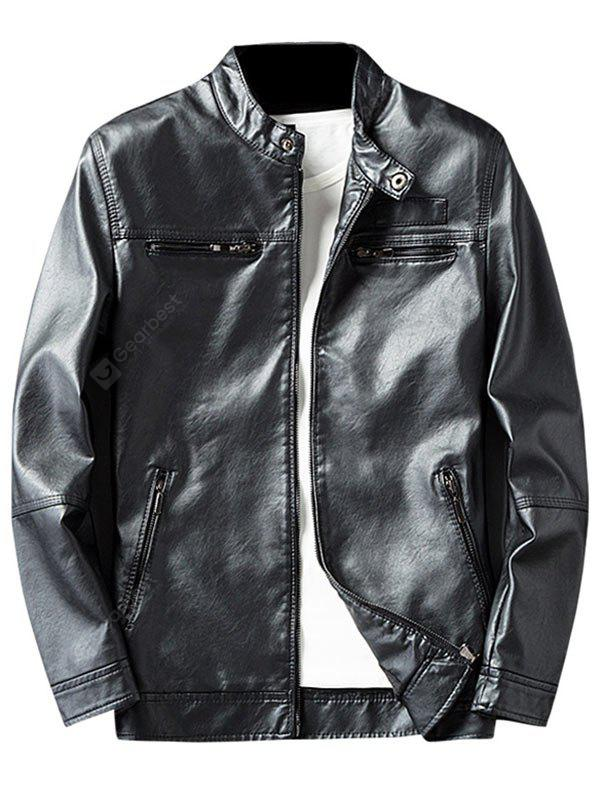 BLACK 3XL Zip Pocket Faux Leather Jacket