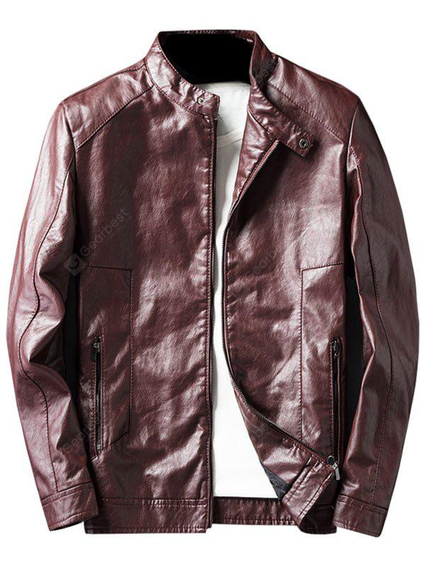 WINE RED 3XL Casual Faux Leather Jacket with Zip Pocket