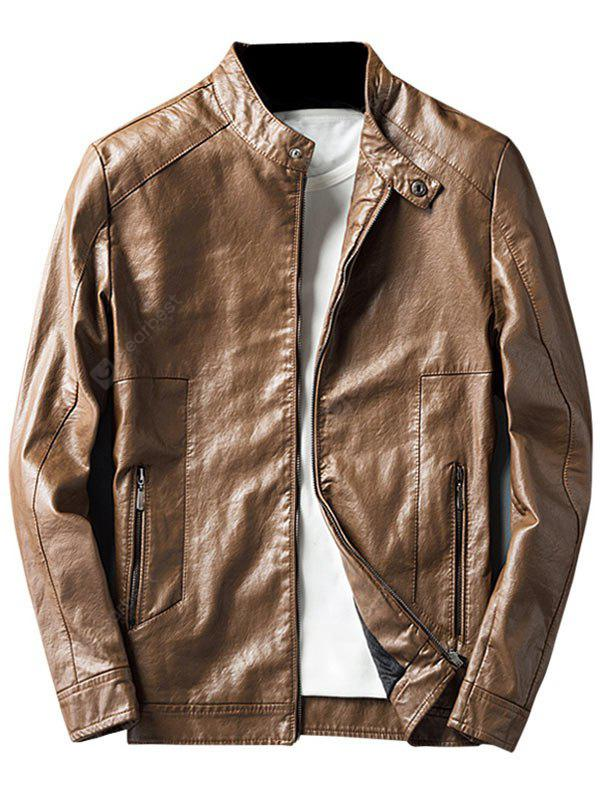 LIGHT BROWN XL Casual Faux Leather Jacket with Zip Pocket