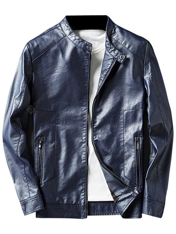 BLUE 3XL Casual Faux Leather Jacket with Zip Pocket