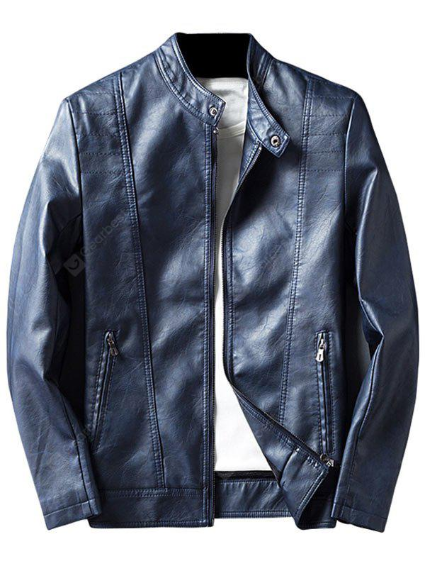 BLUE XL Mandarin Collar Zip Up Faux Leather Jacket