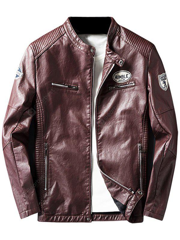 WINE RED XL Zip Pocket Patch Design Faux Leather Jacket