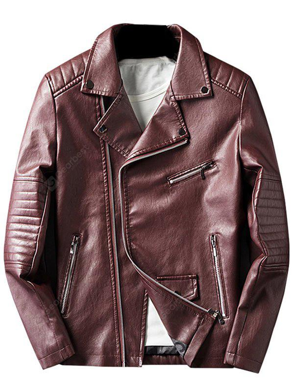 WINE RED 3XL Asymmetrical Zip Faux Leather Jacket