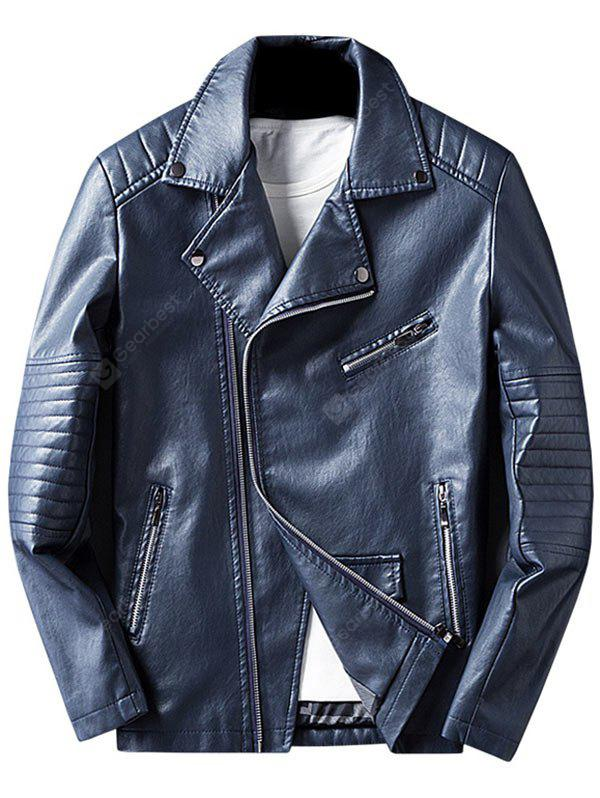 BLUE 3XL Asymmetrical Zip Faux Leather Jacket
