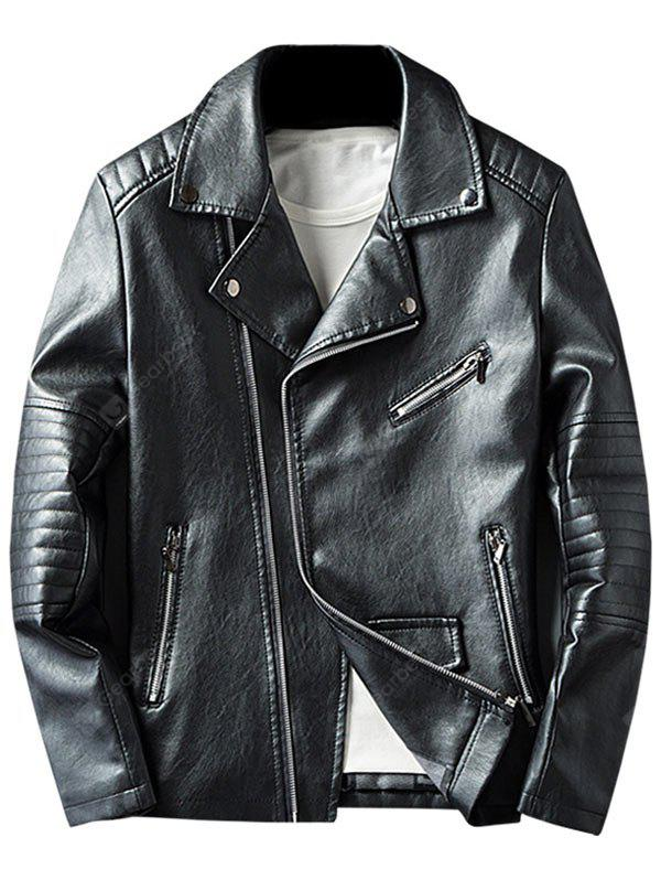 BLACK 2XL Asymmetrical Zip Faux Leather Jacket