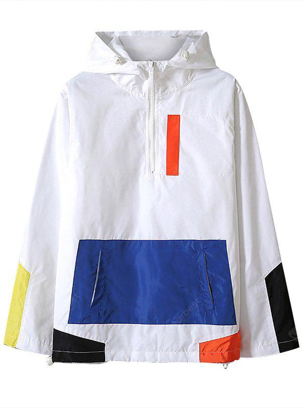 WHITE XL Half Zip Color Block Hooded Jacket