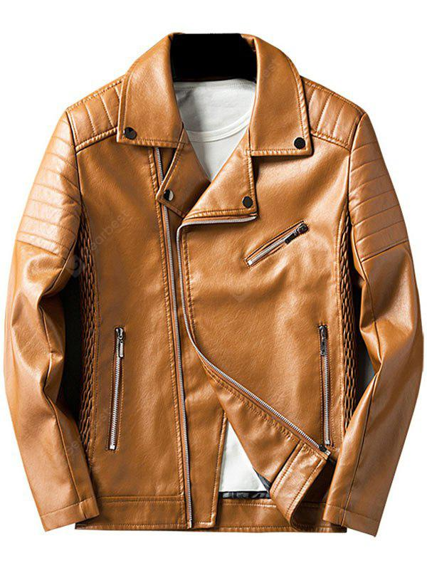 LIGHT BROWN L Pleated Rib Asymmetrical Zip Faux Leather Jacket