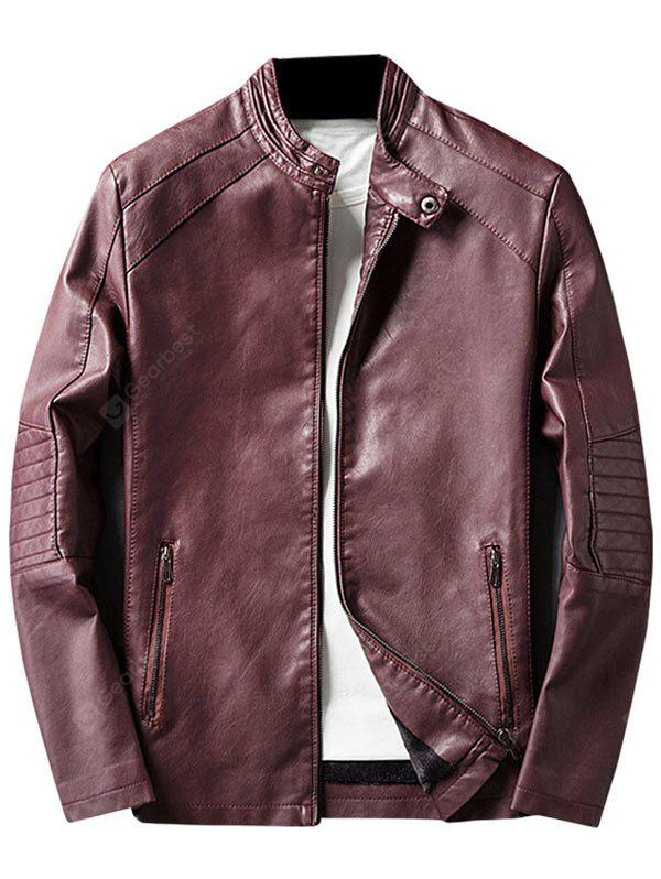 WINE RED 2XL Mandarin Collar Zip Up PU Leather Jacket
