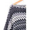 Plus Size Zig Zag Pattern Fringed Poncho Sweater - COLORMIX