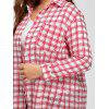 Plus Size Cute Long Plaid Shirt - RED