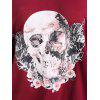Plus Size Halloween Rose Skull Skew Neck Tee - WINE RED