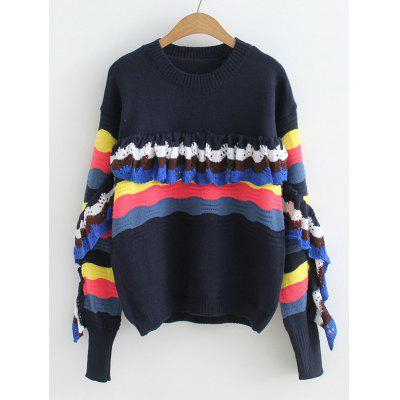 Buy BLACK Stripes Panel Ruffles Pullover Sweater for $24.99 in GearBest store