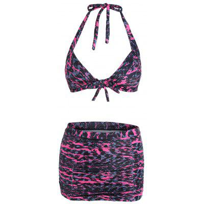 Buy COLORMIX 2XL Plus Size High Waist Printed Bikini Set for $20.23 in GearBest store