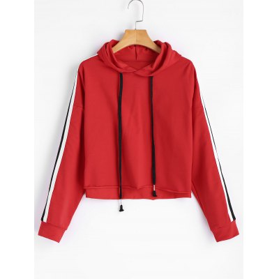 Cropped Oversized Ribbons Trim Hoodie