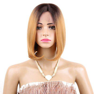 Short Middle Part Ombre Straight Bob Synthetic Lace Front Wig