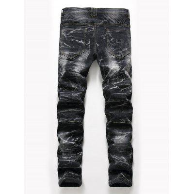 Zip Fly Snow Wash Straight Biker JeansMens Pants<br>Zip Fly Snow Wash Straight Biker Jeans<br><br>Closure Type: Zipper Fly<br>Fit Type: Regular<br>Material: Cotton, Polyester, Spandex<br>Package Contents: 1 x Jeans<br>Pant Length: Long Pants<br>Pant Style: Straight<br>Waist Type: Mid<br>Wash: Snow Wash<br>Weight: 0.8100kg<br>With Belt: No