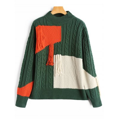 Buy BLACKISH GREEN Patchwork Fringe Cable Knit Sweater for $28.99 in GearBest store