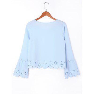 Hollow Out Flare Sleeve Scalloped BlouseBlouses<br>Hollow Out Flare Sleeve Scalloped Blouse<br><br>Collar: Scoop Neck<br>Embellishment: Hollow Out<br>Material: Polyester<br>Occasion: Casual<br>Package Contents: 1 x Blouse<br>Pattern Type: Solid<br>Season: Fall, Spring<br>Shirt Length: Regular<br>Sleeve Length: Full<br>Sleeve Type: Flare Sleeve<br>Style: Casual<br>Weight: 0.2000kg