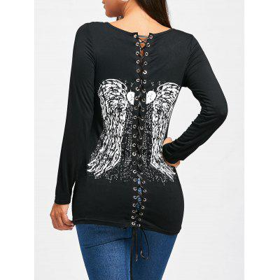 Back Lace Up Wings Print Long Sleeve T-shirt