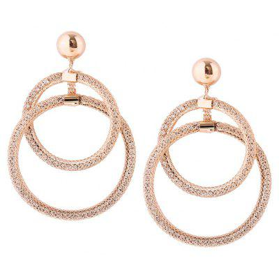 Buy GOLDEN Statement Alloy Round Hoop Drop Earrings for $5.64 in GearBest store