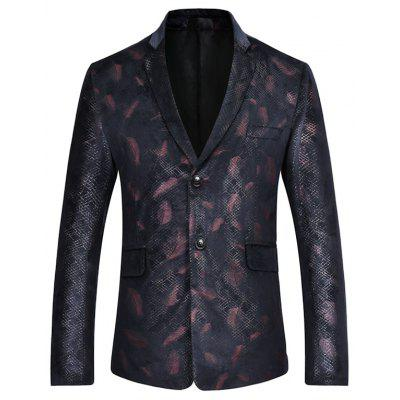 Feather Print Casual Blazer Suit Jacket