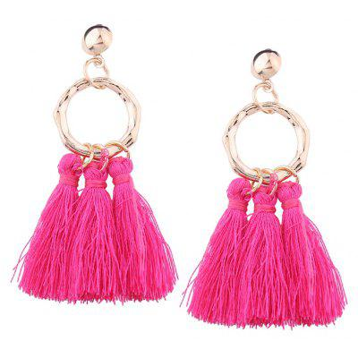 Buy ROSE RED Alloy Ring Tassels Stud Earrings for $2.92 in GearBest store
