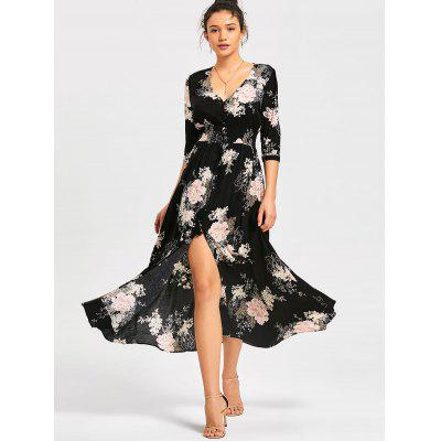 Floral Front Slit Empire Waisted Maxi Dress