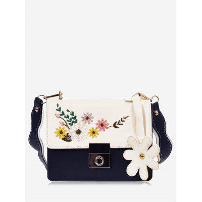 Buy BLUE Embroidery Flower Crossbody Bag for $24.72 in GearBest store