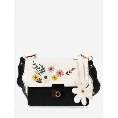 Buy BLACK Embroidery Flower Crossbody Bag for $24.72 in GearBest store