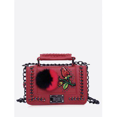 Buy RED Pom Pom Embroidery Chain Crossbody Bag for $25.00 in GearBest store