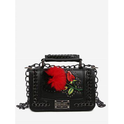 Buy BLACK Pom Pom Embroidery Chain Crossbody Bag for $25.00 in GearBest store