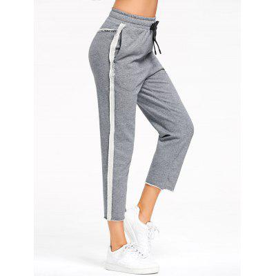 Buy GRAY L Marled Cropped Sweat Pants for $23.01 in GearBest store